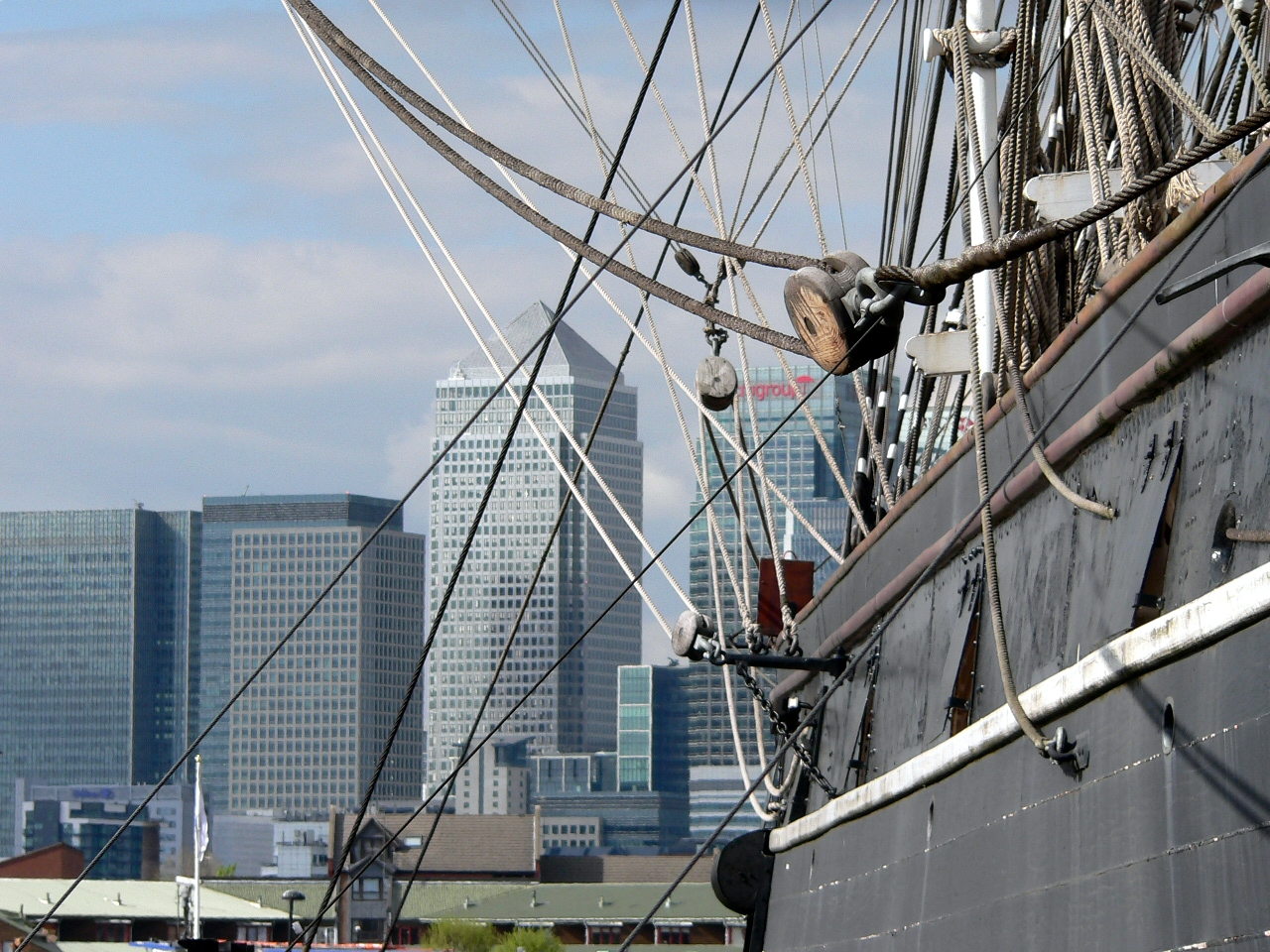Canary Wharf as seen from the Cutty Sark at Greenwich